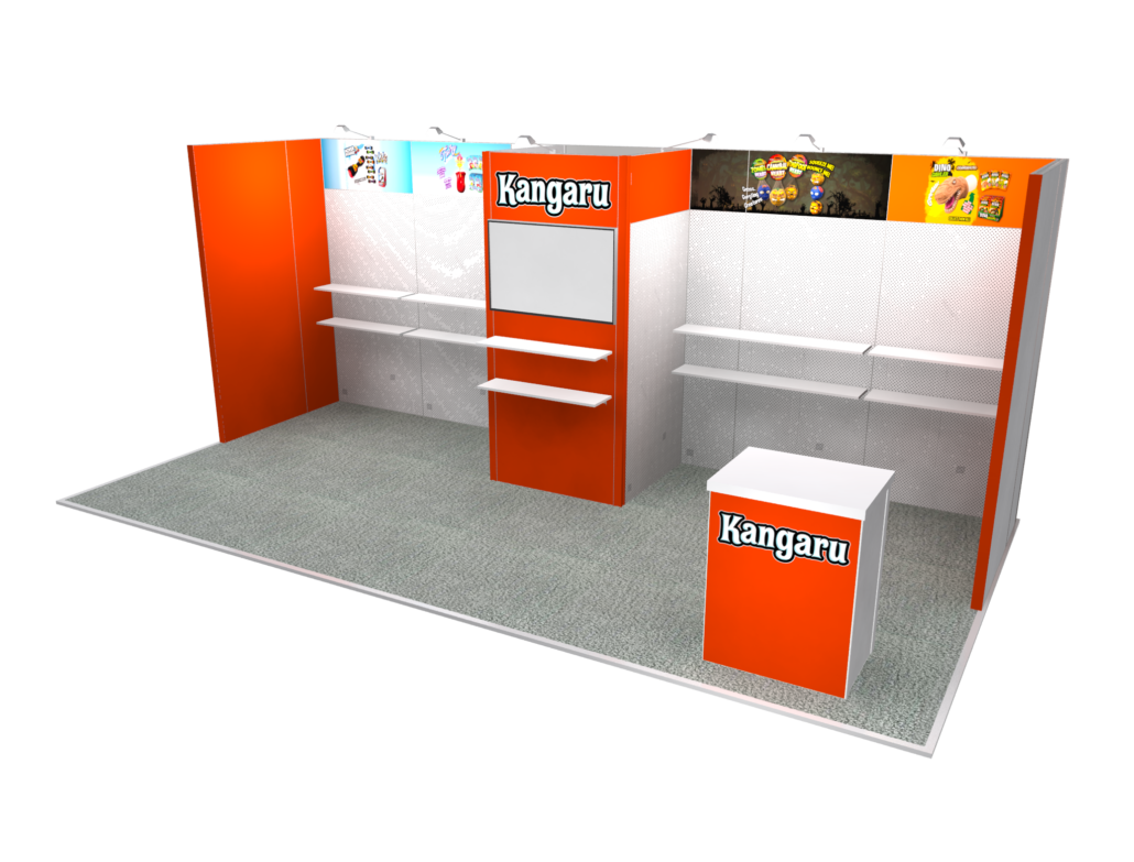 10x20 Inline Exhibits - Designs with Product Space and Shelving